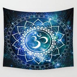 Om Mandala : Blue Green Galaxy Wall Tapestry