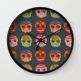 Watercolor Dia de los Muertos Skulls Wall Clock