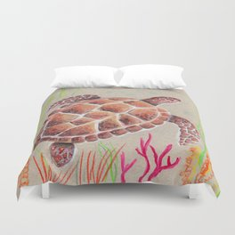Tan Sea Turtle Duvet Cover