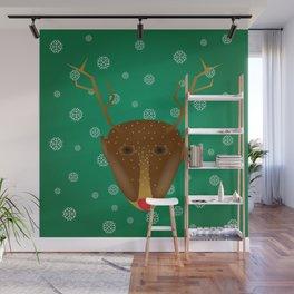Cute Red-Nosed Reindeer - Green Wall Mural