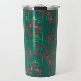 Stars on green background Travel Mug