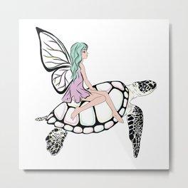 Fairy/ Turtle Metal Print