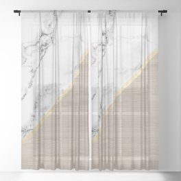 Modern white marble gold stripe wood color block Sheer Curtain