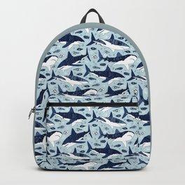 Sharks On Pale Blue Backpack