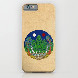 Minhwa: Sun, Moon and 5 Mountains: King's painting C_1 Type (Korean traditional/folk art) iPhone Case