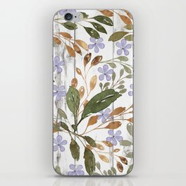 Rustic white wood green lavender watercolor floral iPhone Skin