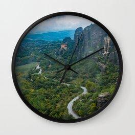 Meteora Monastery Landscape Wall Clock