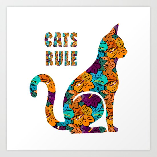 Cats Rule Silhouette With Hibiscus Flowers Art Print