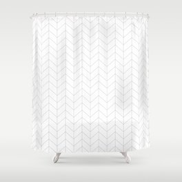 Herringbone Black and White Shower Curtain