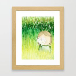 For nature lovers, a melancholic girl with flower Framed Art Print