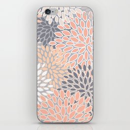 Flowers Abstract Print, Coral, Peach, Gray iPhone Skin