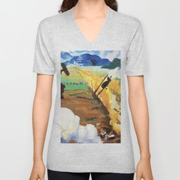 Sopwith Camel Patrol Attacking an Austrian Aerodrome near Sacile, Italy - Sydney William Carline Unisex V-Neck