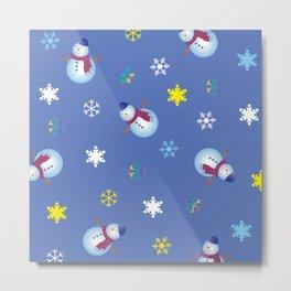 Snowflakes & Snowman_C Metal Print