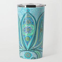 Lotus Blue Painting, Lotus drawing Illustration Travel Mug