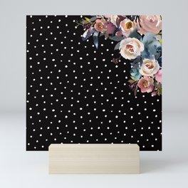 Boho Flowers and Polka Dots on Black Mini Art Print