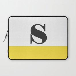 Monogram Letter S-Pantone-Buttercup Laptop Sleeve