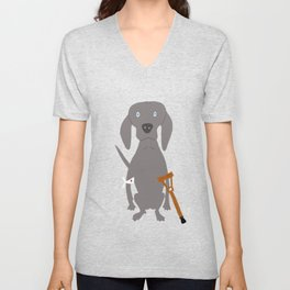 Wounded Weim Grey Ghost Weimaraner Dog Hand-painted Pet Drawing Unisex V-Neck