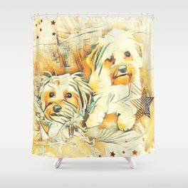 Penny and Copper Yorkie Mixes Shower Curtain