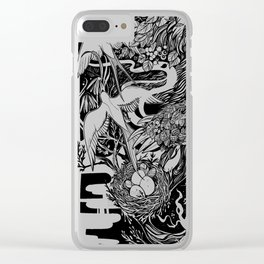 Bear- black and white - illustration Clear iPhone Case