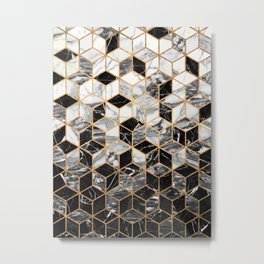 Marble Cubes - Black and White Metal Print