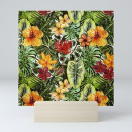 Tropical Vintage Exotic Jungle Flower Flowers - Floral watercolor pattern Mini Art Print