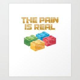 Danish Toy Bricks Blocks Building Games Builders Plaything The Pain Is Real Blocks Gift Art Print