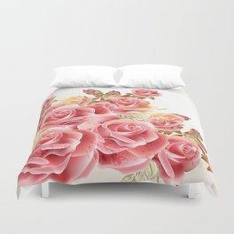 Artistic Pink Roses Duvet Cover