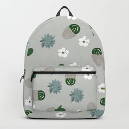 Succulents pattern. grey, green. Backpack