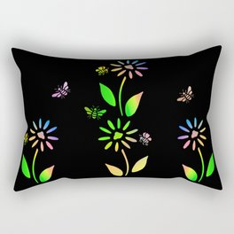 Bees And Flowers Rectangular Pillow