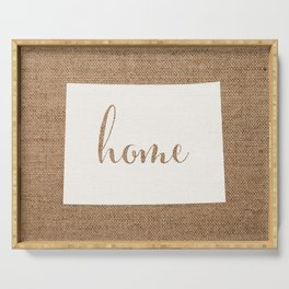 Colorado is Home - White on Burlap Serving Tray