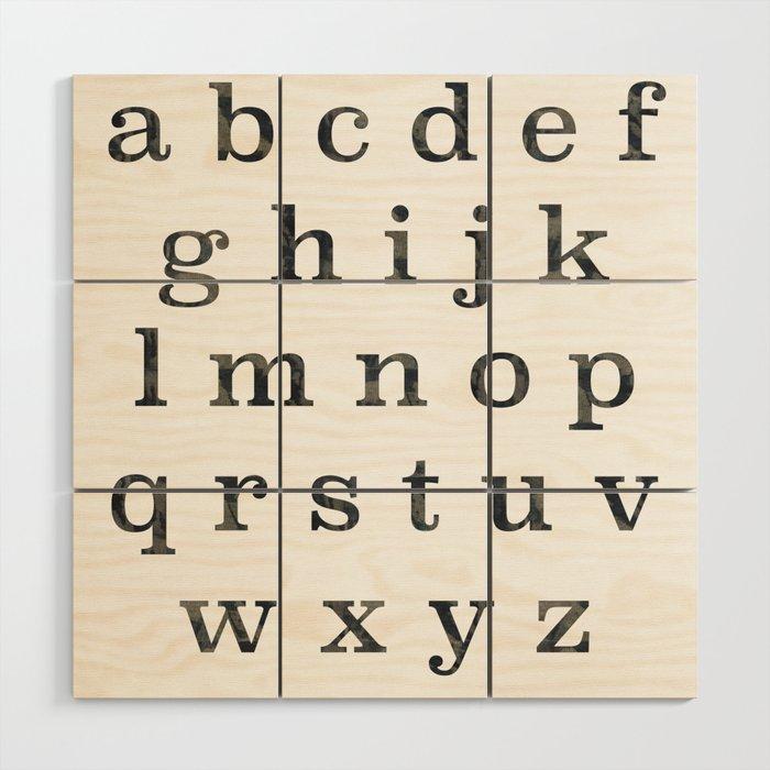 Dark Watercolor Alphabet Wood Wall Art