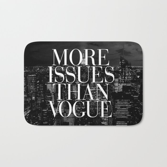 More Issues Than Vogue Black and White NYC Manhattan Skyline Bath Mat