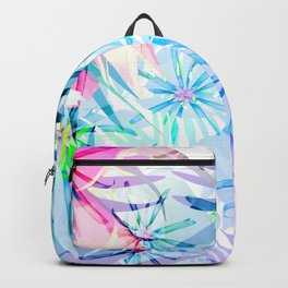 Flashy Colorful Tropical Flowers Design Backpack