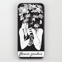 Flower Junkie - Black and White Digital Drawing of Girl holding Flowers iPhone Skin