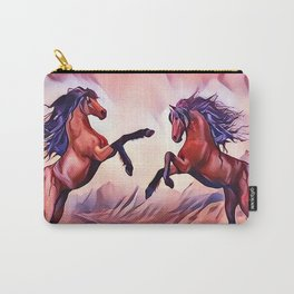 Wild Stallions Playing Carry-All Pouch
