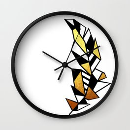 Gold Feather Design Wall Clock