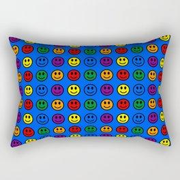 Blue Smiley Faces Pride Rainbow Colors Rectangular Pillow