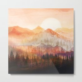 Forest Shrouded in Morning Mist Metal Print