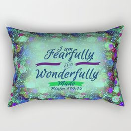 FEARFULLY AND WONDERFULLY MADE Floral Christian Typography God Bible Scripture Jesus Psalm Abstract Rectangular Pillow