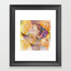 profile woman and flowers Framed Art Print