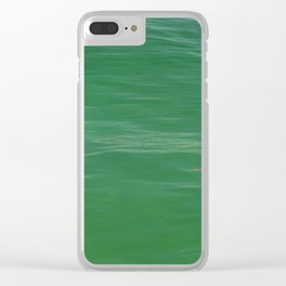 Turtle swimming in green waters Clear iPhone Case