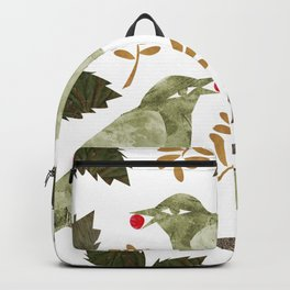 Birds and Holly in Greens, Golds and Red Backpack