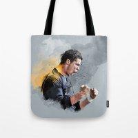 ronaldo Tote Bags featuring Cristiano ronaldo - painting by uniteeds