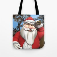 santa Tote Bags featuring Santa by Design Windmill