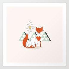 Fox in the mountain Art Print