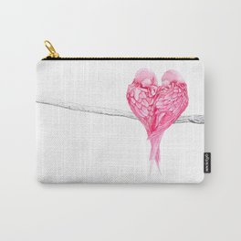 Pink Heart Birds Love Fashion Fashionable Minimalist Animal Carry-All Pouch
