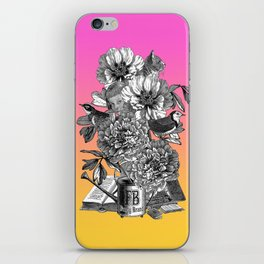 Surreal Vintage Collage with Bouquet of Flowers iPhone Skin
