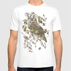Great Horned Owl White Mens Fitted Tee LARGE