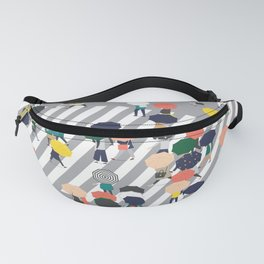Crossing The Street on a Rainy Day - Grey Fanny Pack