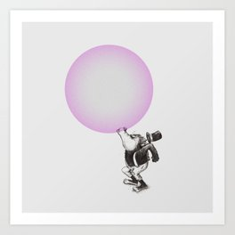 Bubblegum Blowing Champion Art Print